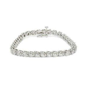 2 Carats round diamond bracelet white gold jewelry
